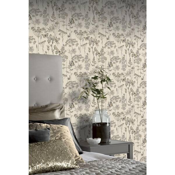Arthouse Folk Floral Denim Blue Exquisite Detail Grey Wallpaper 676002