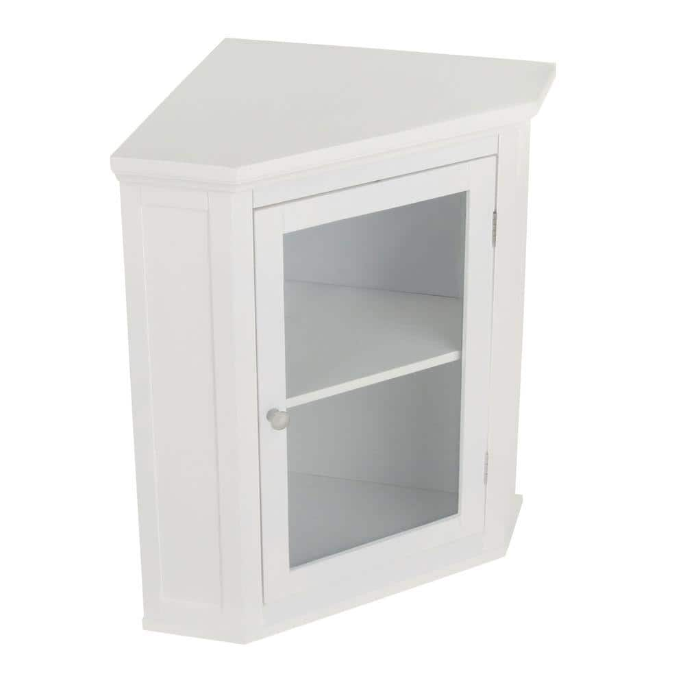 Elegant Home Fashions Wilshire 21 1 4 In W X 23 3 4 In H X 14 1 4 In D Corner Bathroom Storage Wall Cabinet In White Hd17084 The Home Depot