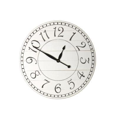 24 in. Oversized White Farmhouse Wall Clock