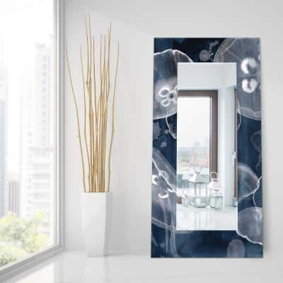 72 in. x 36 in. Moon Jellies Rectangle Framed Printed Tempered Art Glass Beveled Accent Mirror