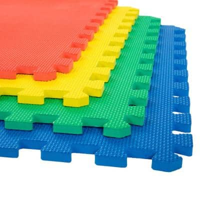Multicolored 24 in. W x 24 in. L Foam Exercise/Gym Flooring Tiles - Set of 4 Floor Tiles (16 sq. ft. Covered)