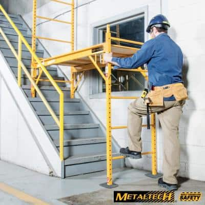 Safeclimb Baker 6.2 ft. L x 6.25 ft. H x 2.5 ft. D Metal Scaffold Platform with Wheels and Base Plates, 1100lb. Capacity