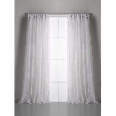 Whisper White Net Tulle Light Filtering Gathered Curtain 54 in. W x 96 in. L