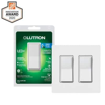 Sunnata Touch Dimmer Switch for LED, Incandescent/Halogen Bulbs, White (2-Pk w/ 2-Gang Wallplate)