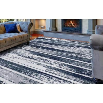 Jasmin Collection Stripes Design Multi-Color 7 ft. 8 in. x 9 ft. 8 in. Area Rug