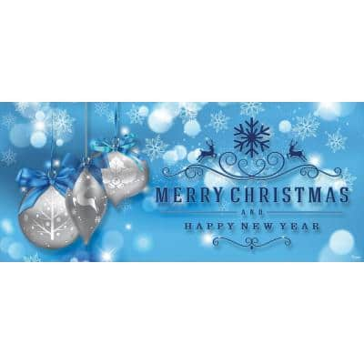 7 ft. x 16 ft. Silver Christmas Ornaments on Blue Christmas Garage Door Decor Mural for Double Car Garage