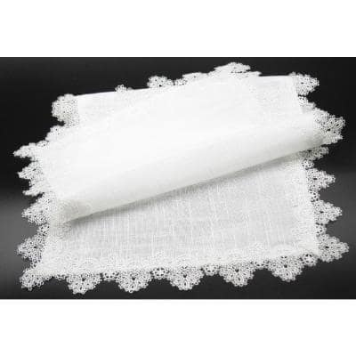 Victorian Lace 16 in. x 90 in. White Trim Table Runner