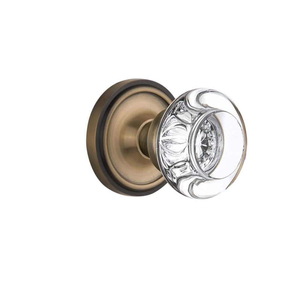 Nostalgic Warehouse Classic Rosette 2 3 4 In Backset Antique Brass Privacy Bed Bath Round Clear Crystal Glass Door Knob 714539 The Home Depot