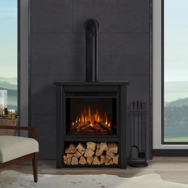 Real Flame Hollis 32 In Freestanding Electric Fireplace In Black 5005e Blk The Home Depot