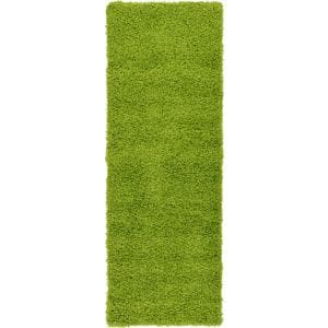 Solid Shag Grass Green 6 ft. Runner Rug