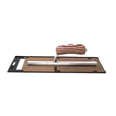 13 in. x 5 in. Elite Series 5 Star Golden Stainless Steel Plaster Trowel - Wood Handle