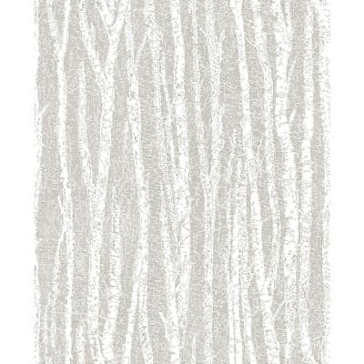 Toyon Taupe Birch Tree Paper Strippable Roll (Covers 56.4 sq. ft.)