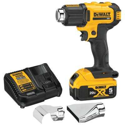 20-Volt MAX Cordless Compact Heat Gun, Flat & Hook Nozzle Attachments & (1) 20-Volt 5.0Ah Battery & Charger