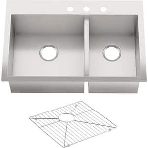 Vault Undermount Stainless Steel 33 in. 3-Hole 60/40 Double Basin Kitchen Sink Kit