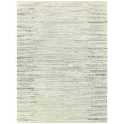 Callan White 8 ft. x 10 ft. Stripe Shag Area Rug