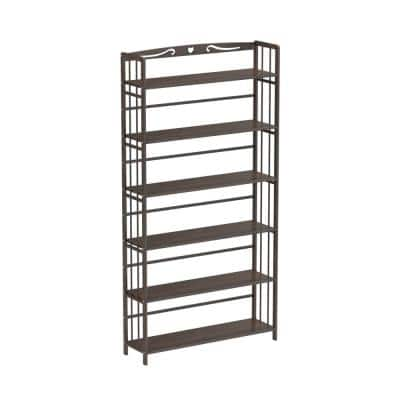 68.9 in. Brown Bamboo Bookshelf 6 -Shelf Standard Multi Tier Bookcase Flower Shelves Stands