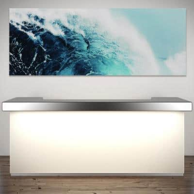 """24 in. x 63 in.""""Blue Wave 1"""" Frameless Free Floating Tempered Glass Panel Graphic Art"""