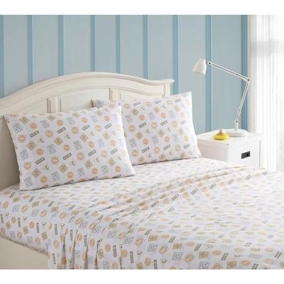 3-Piece Gray and Yellow Construction Kids Twin Sheet Set