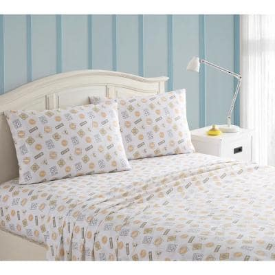 4-Piece Gray and Yellow Construction Kids Full Sheet Set