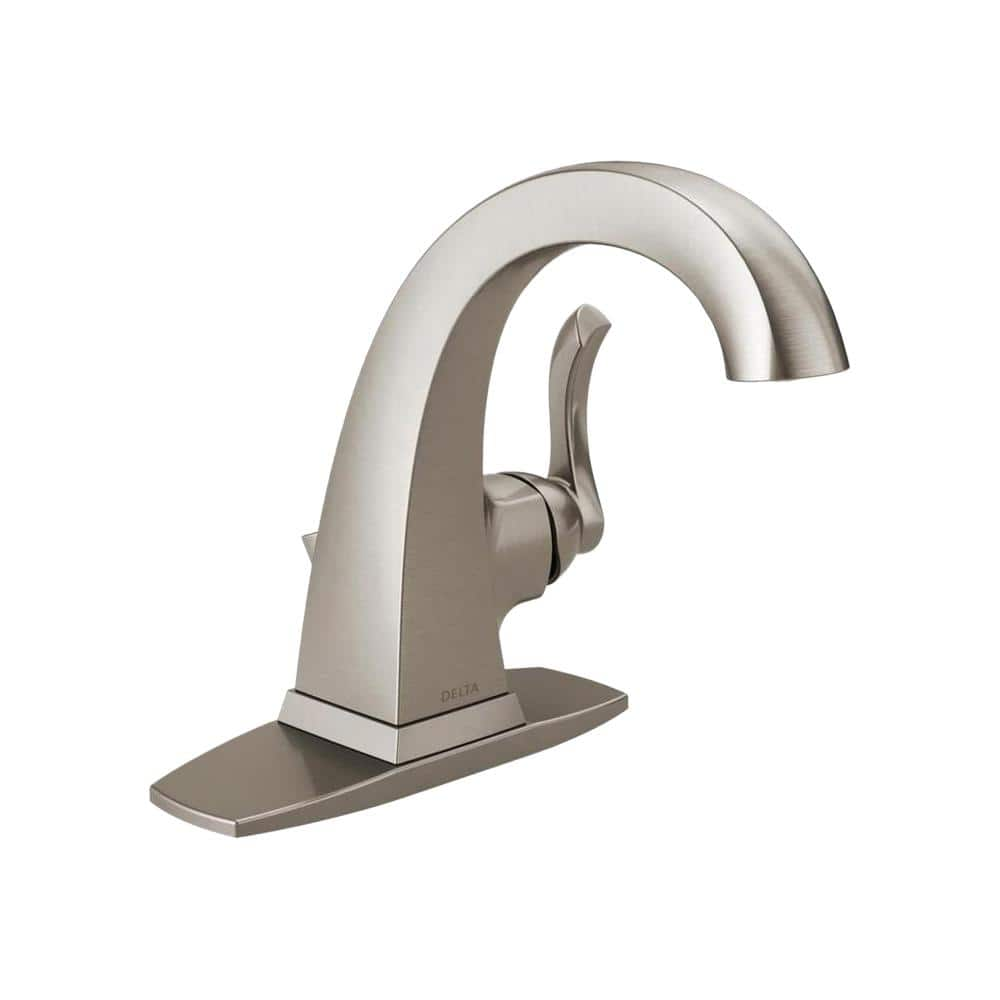 Delta Everly Single Hole Single Handle Bathroom Faucet In Spotshield Brushed Nickel 15741lf Sp The Home Depot