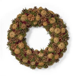18.5 in. Natural Brown Unlit Artificial Christmas Wreath with Pine Cones