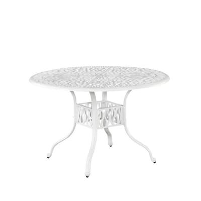 Capri 48 in. White Round Cast Aluminum Outdoor Dining Table