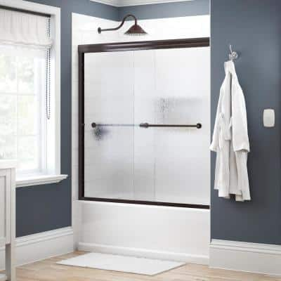 Crestfield 60 in. x 58-1/8 in. Traditional Semi-Frameless Sliding Bathtub Door in Bronze and 1/4 in. (6mm) Rain Glass