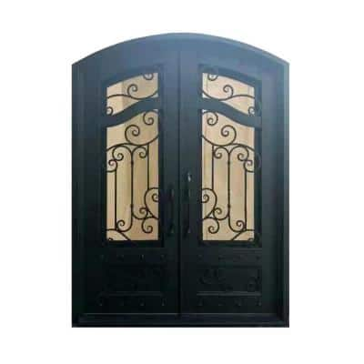 96 in. x 72 in. Matte Black Right-Hand Inswing 2 Lite Tempered Rainstorm Glass Iron Prehung Front Door