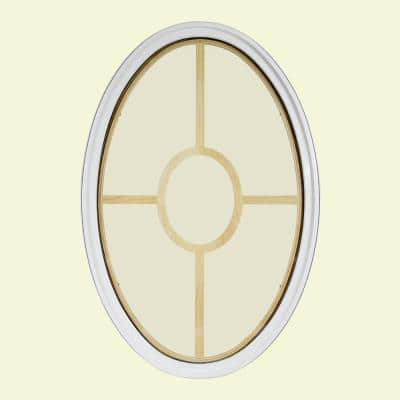 24 in. x 36 in. Oval White 4-9/16 in. Jamb 5-Lite Grille Geometric Aluminum Clad Wood Window