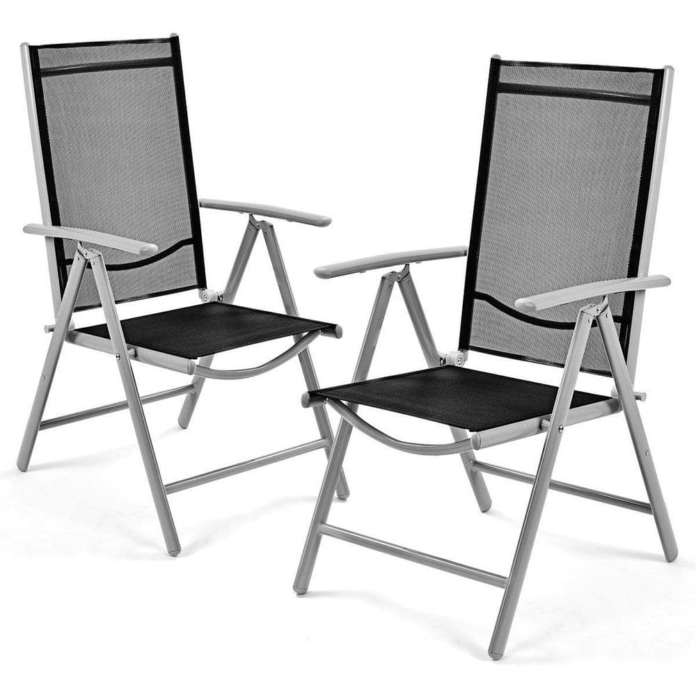 Casainc Adjustable Folding Metal Outdoor Dining Chair In Light Gray 2 Pack Ca Hw52027 The Home Depot