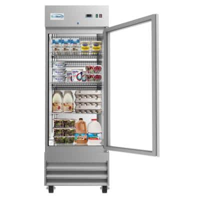 23 cu. ft. Commercial Reach in Refrigerator with Glass Door in Stainless Steel