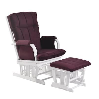 Home Deluxe Purple Microfiber White Wood Glider and Ottoman set