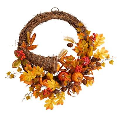 26 in. Orange Autumn Artificial Cornucopia Fall Wreath