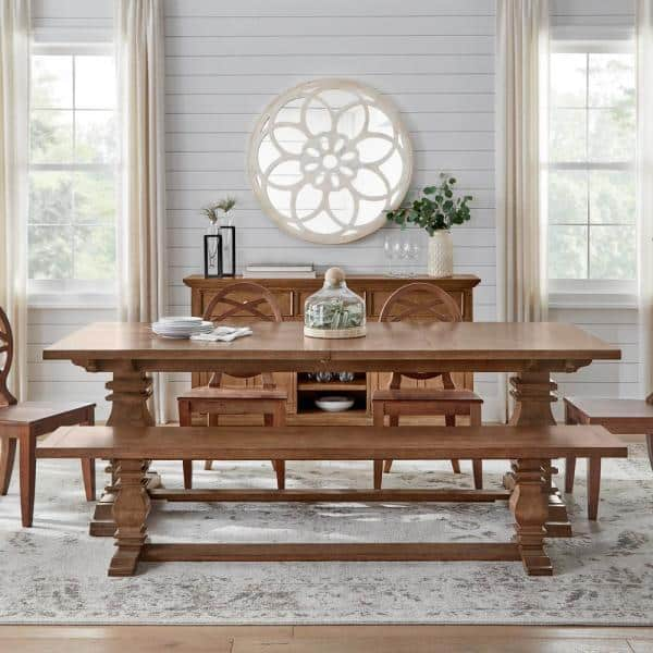 Trestle Dining Table With Self Storing, Trestle Dining Room Table