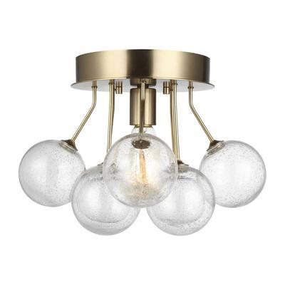 Bronzeville 15 in. 1-Light Satin Brass Semi-Flush Mount with Seeded Glass Globes