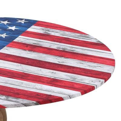 """Fabric Fitted Table Cover, US Flag, 48"""""""