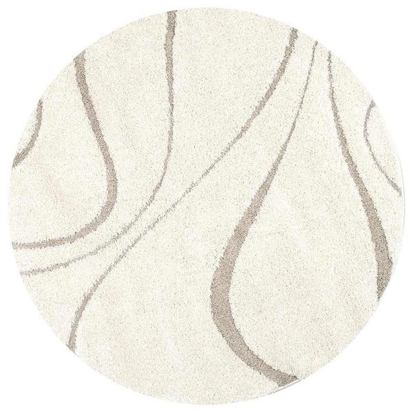 Nuloom Yn Contemporary Curves, Round Cream Rug