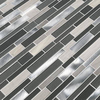 Urban Loft Interlocking 12 in. x 12 in. x 4 mm Glass/Stone/Metal Mesh-Mounted Mosaic Tile (1 sq. ft.)