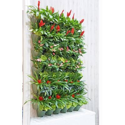 18 in. Grey Self-Watering 3 Pockets Plastic Vertical Wall Garden Planters