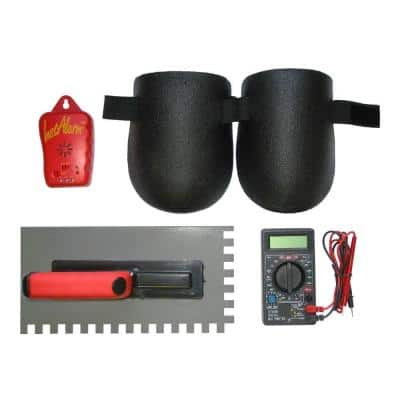 Floor Heating System Installation Tool Kit with 1/2 in. x 3/8 in. Plastic Trowel, Multimeter, Monitor, Knee Pads