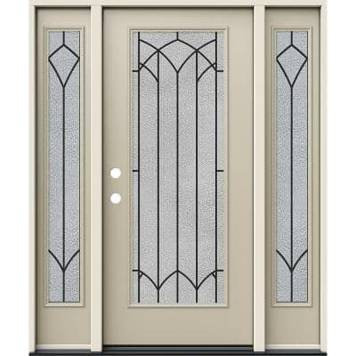 60 in. x 80 in. Right-Hand Full Lite Mointclaire Decorative Glass Desert Sand Steel Prehung Front Door with Sidelites