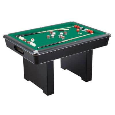 Renegade 54 in. Slate Bumper Pool Table for Family Game Rooms with Green Felt, 48 in. Cues, Balls, Brush and Chalk
