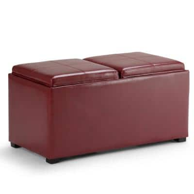 Lincoln 35 inch Wide Contemporary Rectangle Storage Ottoman in Radicchio Red Faux Leather