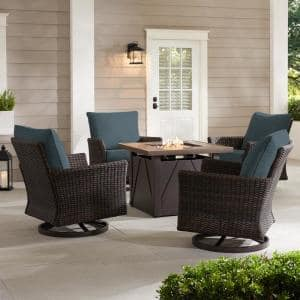 Lakeline 5-Piece Brown Metal Outdoor Patio Fire Pit Swivel Seating Set with Sunbrella Denim Blue Cushions
