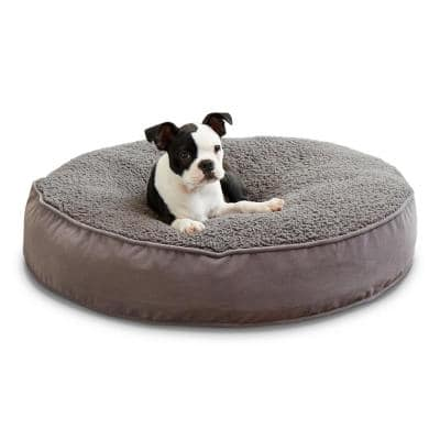 Scout Deluxe Small Round Gray Sherpa Dog Bed