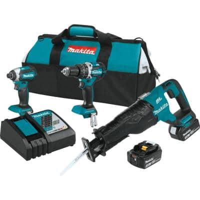 18-Volt LXT Lithium-Ion Brushless Cordless Combo Kit (3-Tool) with (2) 4.0 Ah Batteries, Rapid Charger, and Tool Bag