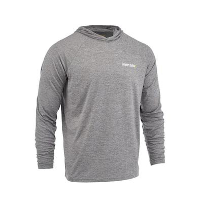 Men's X-Large Gray Performance Long Sleeved Hoodie Shirt
