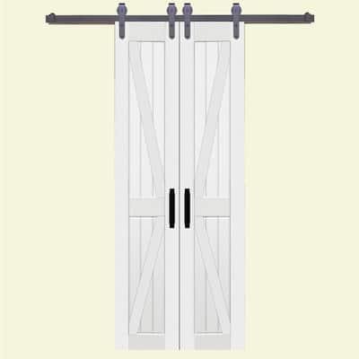 36 in. x 84 in. Board and Batten Composite PVC White Split Sliding Barn Door with Hardware Kit