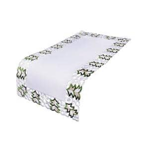 16 in. x 34 in. Tannenbaum Embroidered Cutwork Holiday Table Runner