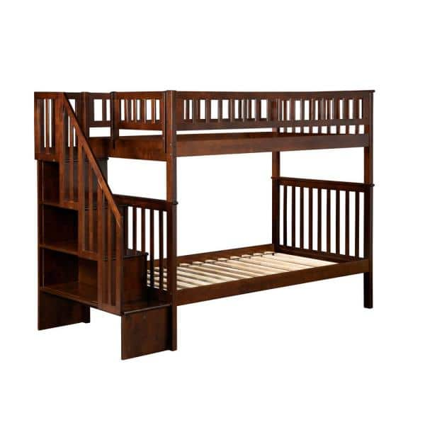 Atlantic Furniture Woodland Walnut Twin Over Twin Staircase Bunk Bed | The Home Depot